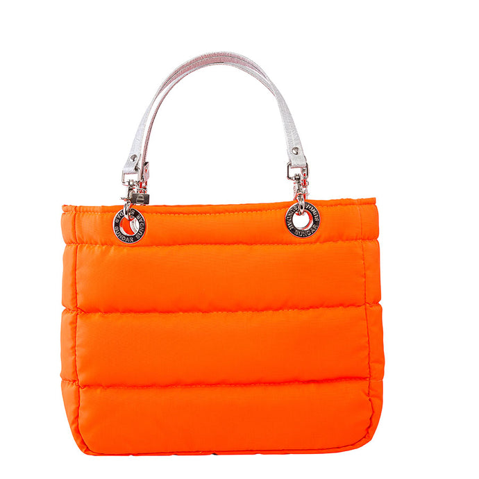 Básica Neon Orange, Shoulder Bag with Silver Strap