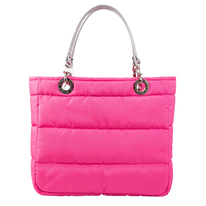 Básica Neon Pink, Top Zipper, Shoulder Bag with Silver Strap
