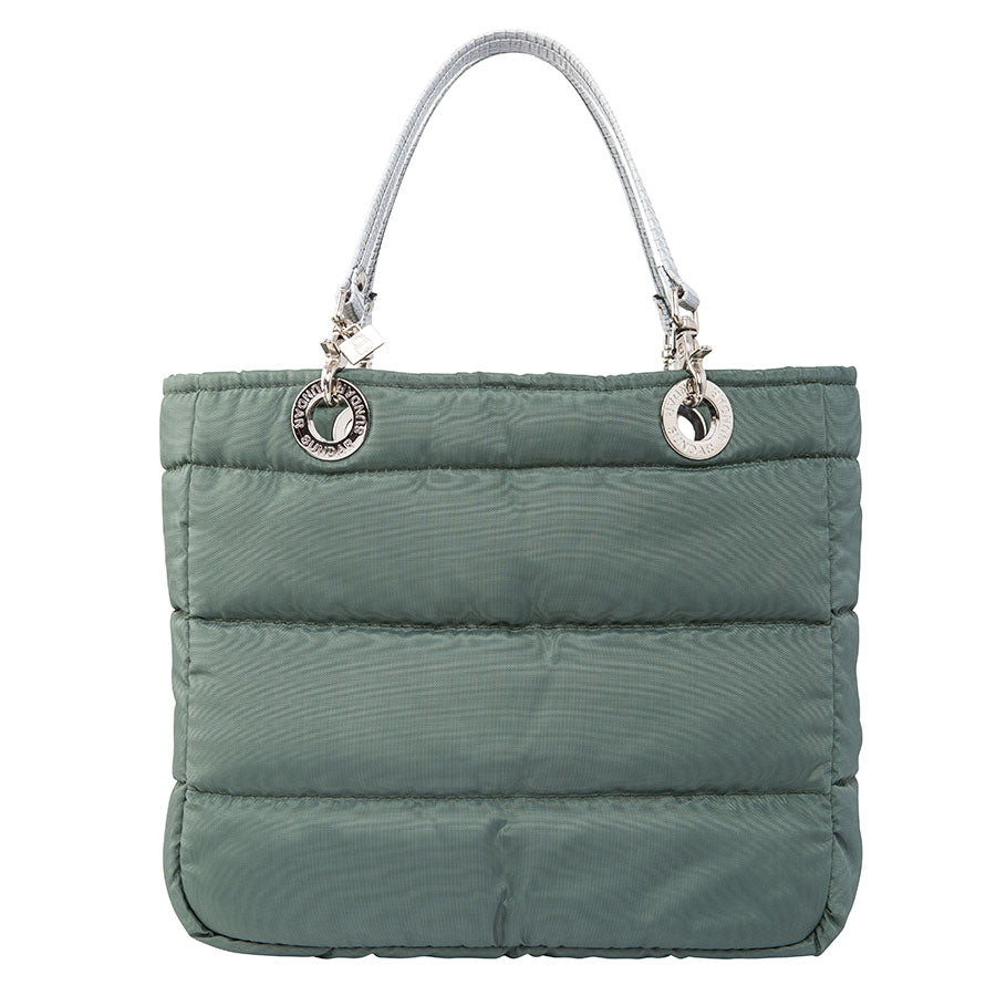 Básica Olive Green, Top Zipper, Shoulder Bag with Silver Strap