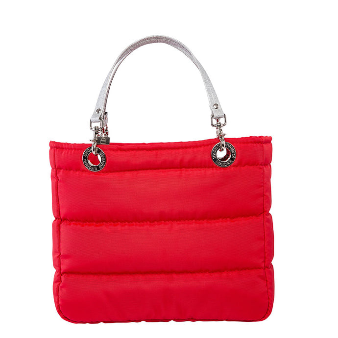Básica Red, Top Zipper, Shoulder Bag with Silver Strap