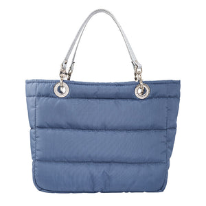 Básica Steel Blue, Top Zipper, Shoulder Bag with Silver Strap