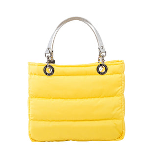 Básica Yellow, Top Zipper, Shoulder Bag with Silver Strap