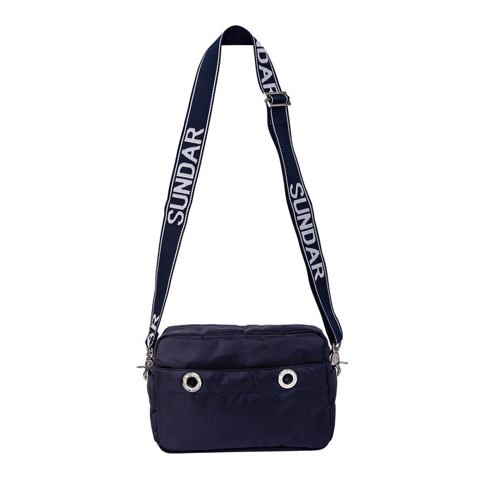 Laura Crossbody, Navy Blue with Blue and White Adjustable Strap