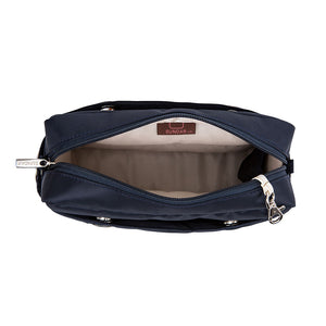 Laura Crossbody, Blue Navy with Blue and White Adjustable Strap