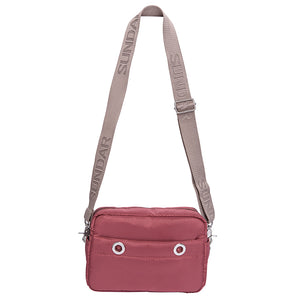 Laura Crossbody, Burgundy with Beige Adjustable Strap