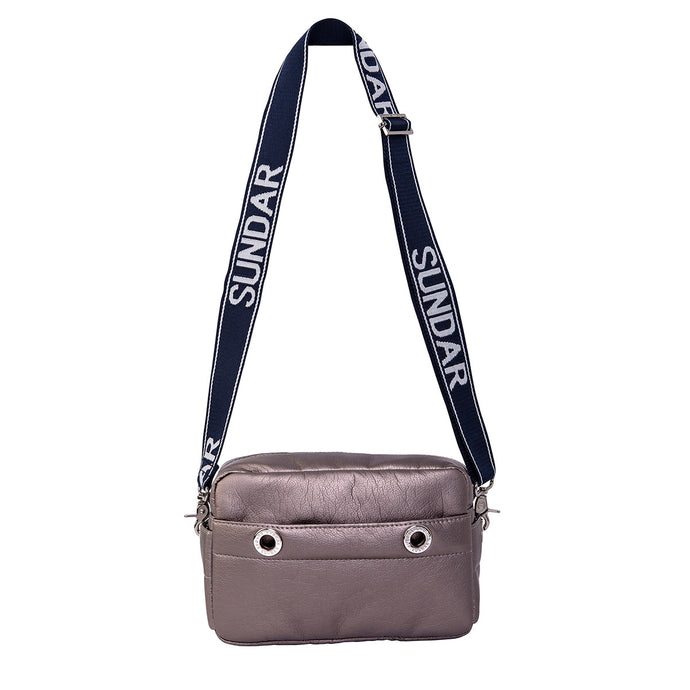Laura Crossbody, Pyrite Metallic with Blue and White Adjustable Strap