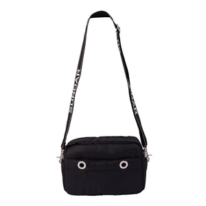 Laura Crossbody Black with Black and White Adjustable Strap