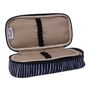Pencil Case Lines Pattern Navy Blue / White