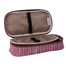 Pencil Case Lines Pattern Burgundy / White