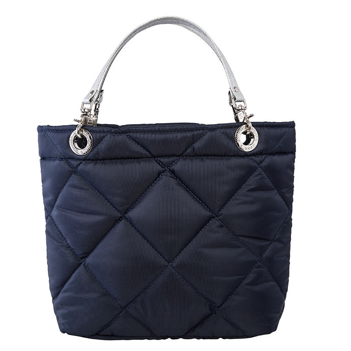 Rombos Navy Blue, Top Zipper, Shoulder Bag with Silver Strap
