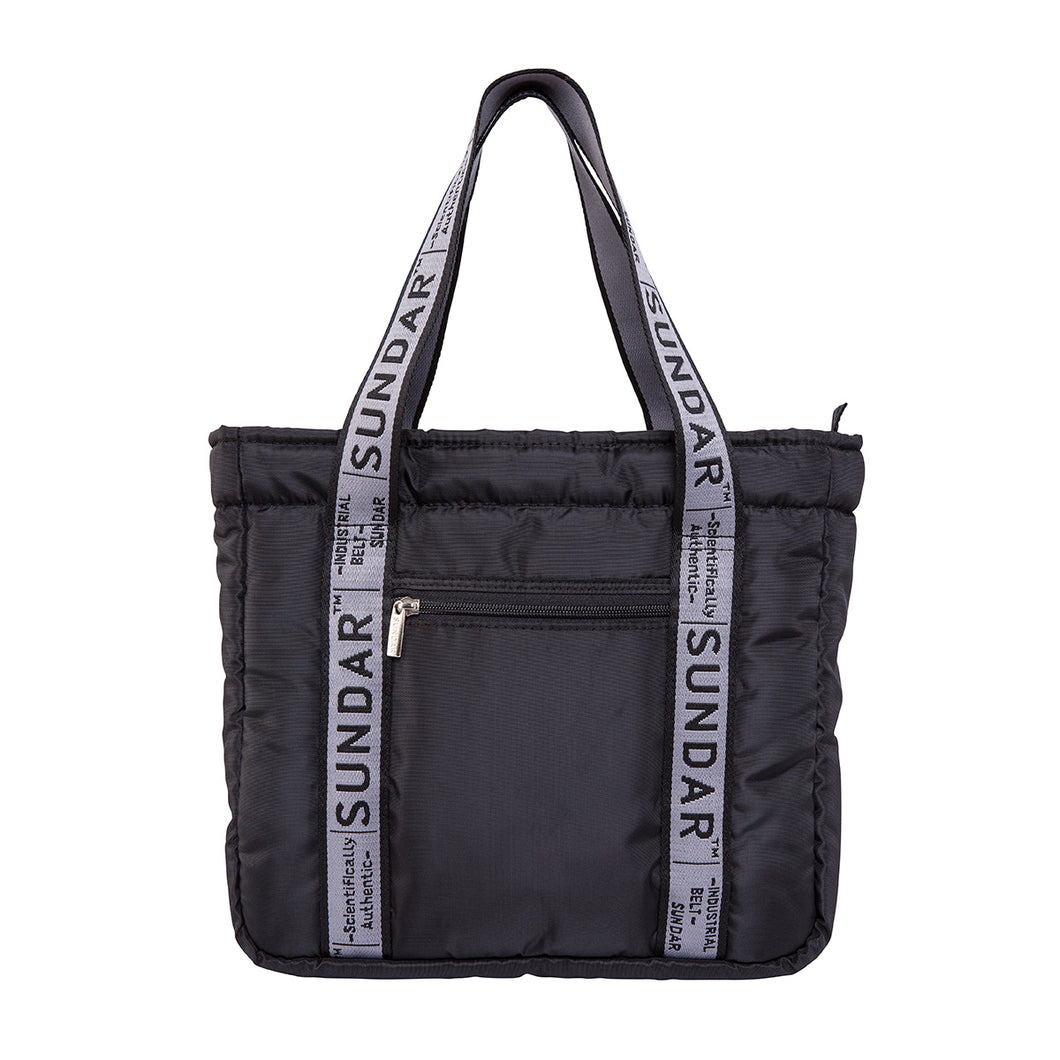 Básica Black,  Shoulder Bag 2020 with Black and Grey Ribbon Strap