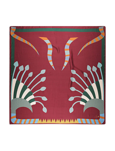 Abstract Print Silk Twill Scarf