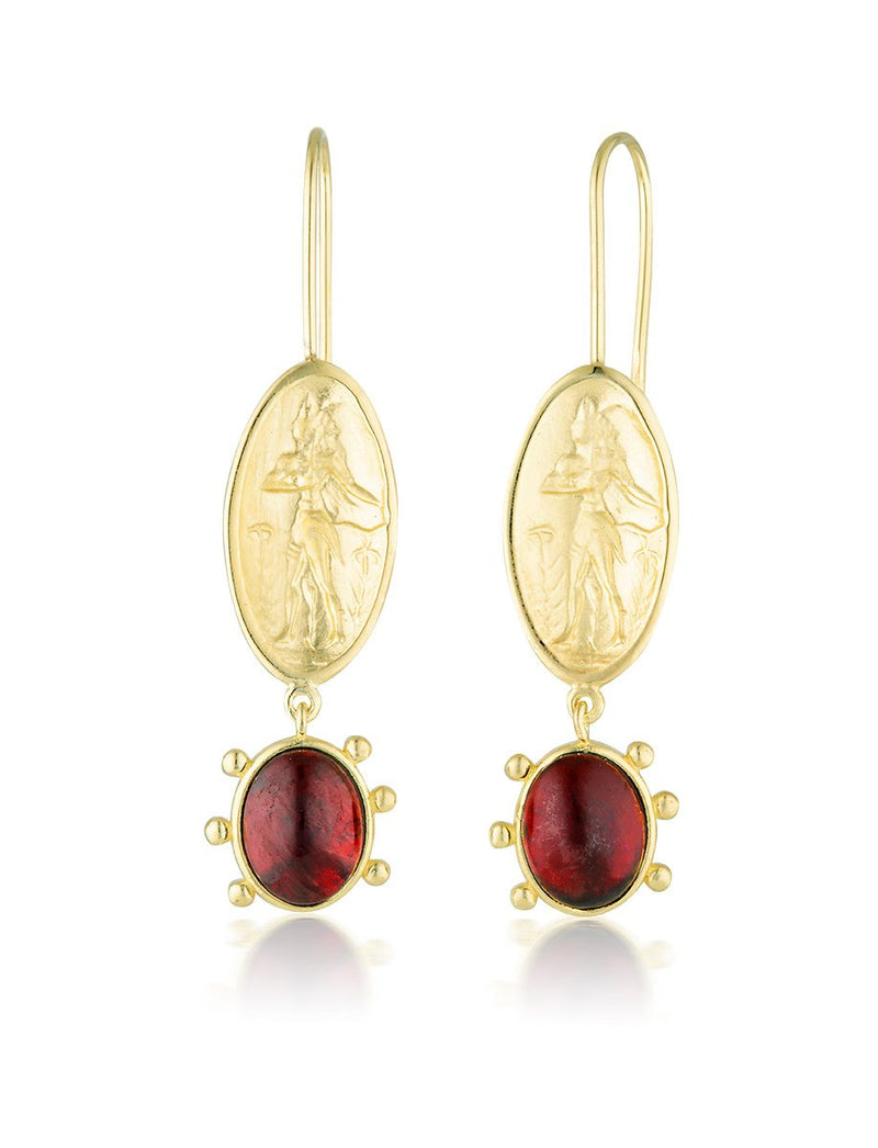 Dimitra Earrings - Garnet