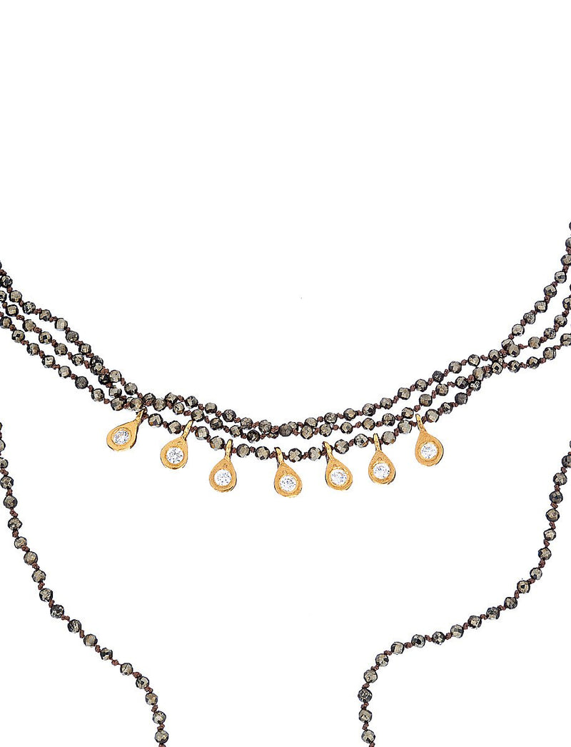 Pyrite Stone & White Zircon Long Necklace