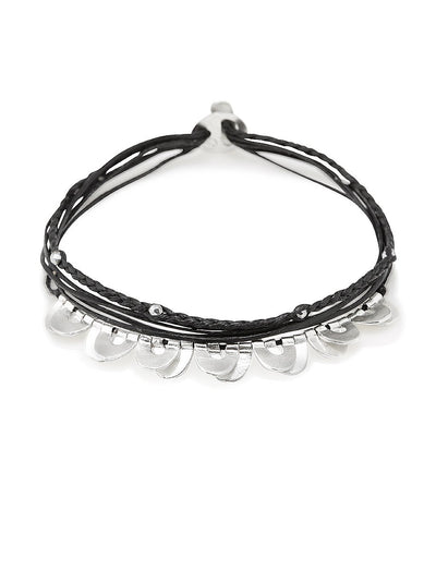 Semi-Circle Coin Multi Strand Wax Cord Bracelet