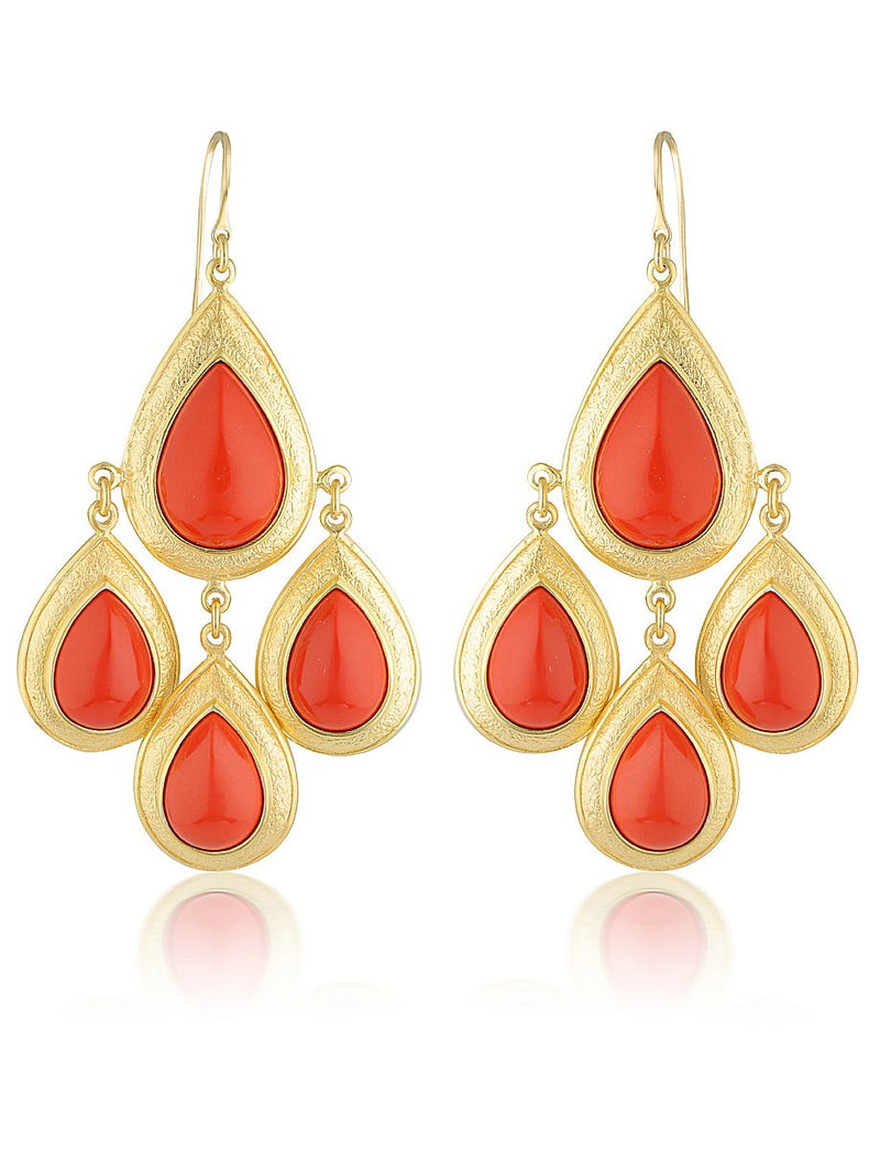 Trevi Red Coral Stone Earrings