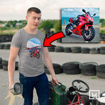 motorbikes custom print for men fitted t-shirt mockup sport grey