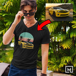 custom print for men v-neck t-shirt mockup black