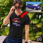 jdm custom print for men v-neck t-shirt mockup black