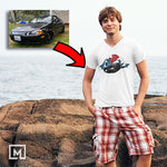 jdm custom print for men v-neck t-shirt mockup whtie