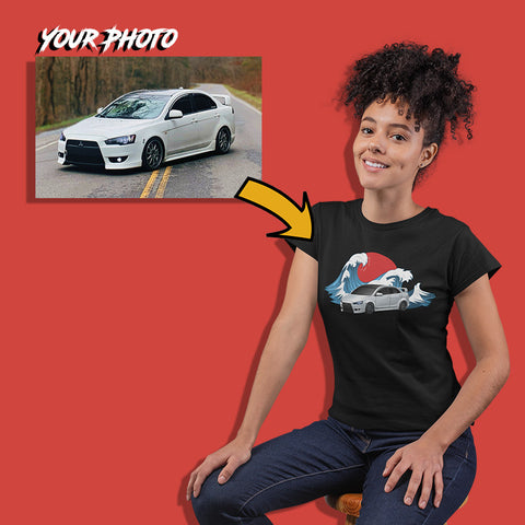jdm custom print for women fitted t-shirt