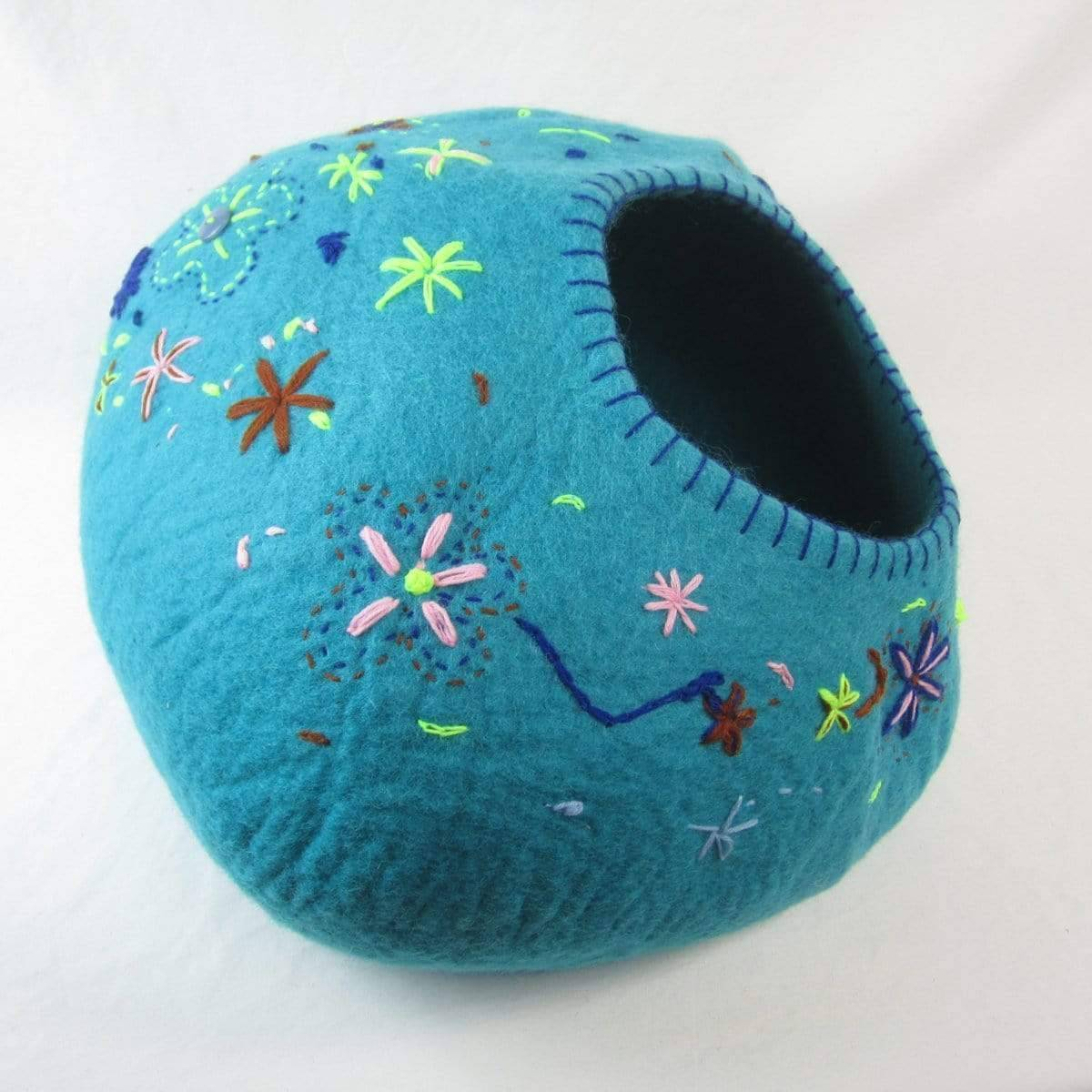 Turquoise with Flower Stitching Cat Cave | Pet Bed
