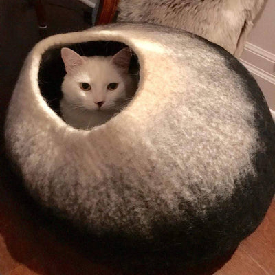 Charcoal & White Cat Cave |  Pet Bed