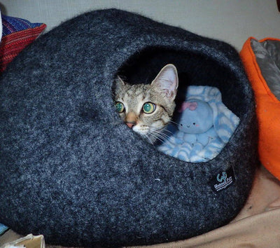Heather Grey Cat Cave | Pet Bed