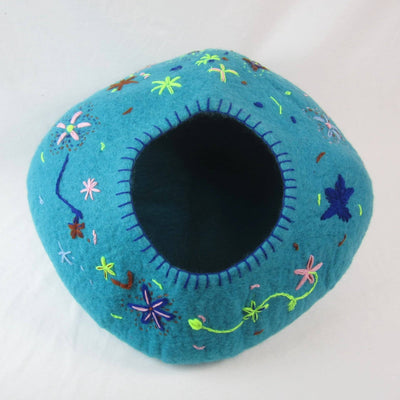 PRE-SALE | Turquoise with Flower Stitching Cat Cave | Pet Bed