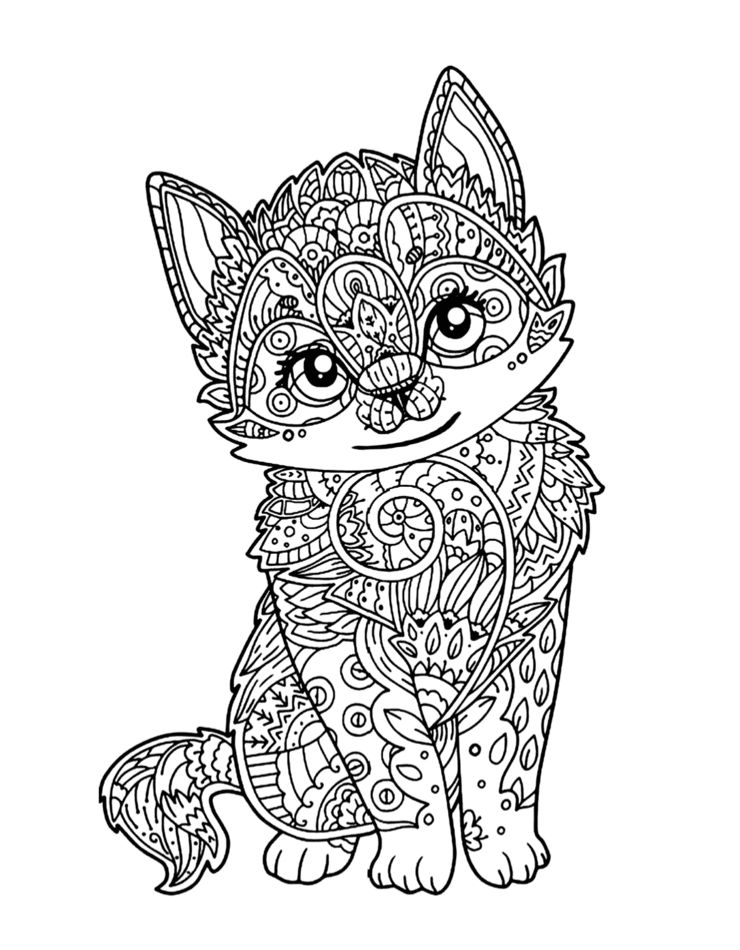 Cute Kitten Coloring Page | Free Download