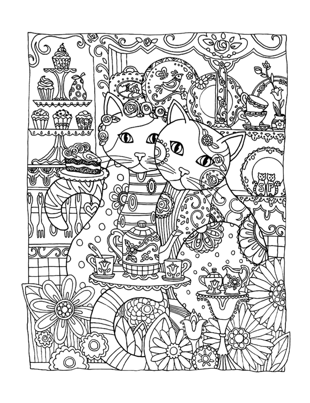 Two Cats Coloring Page | Free Download