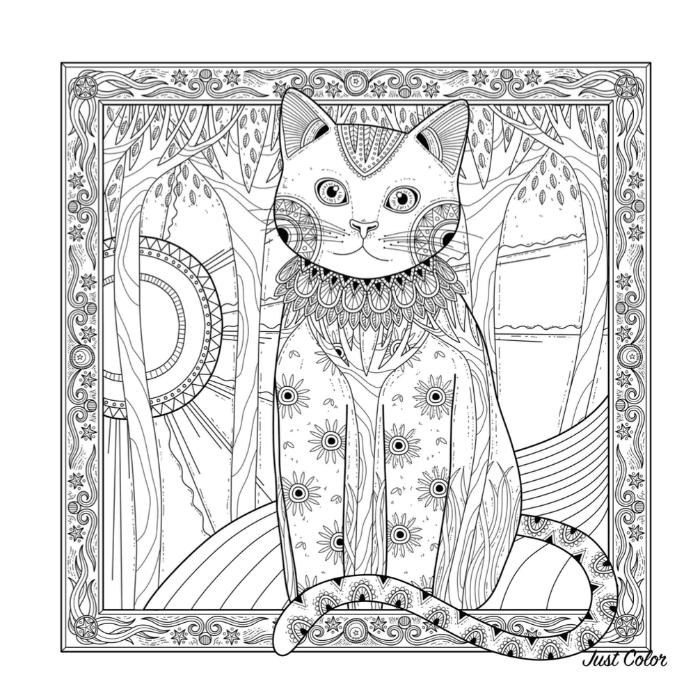 Chat Et Soleil Coloring Page | Free Download