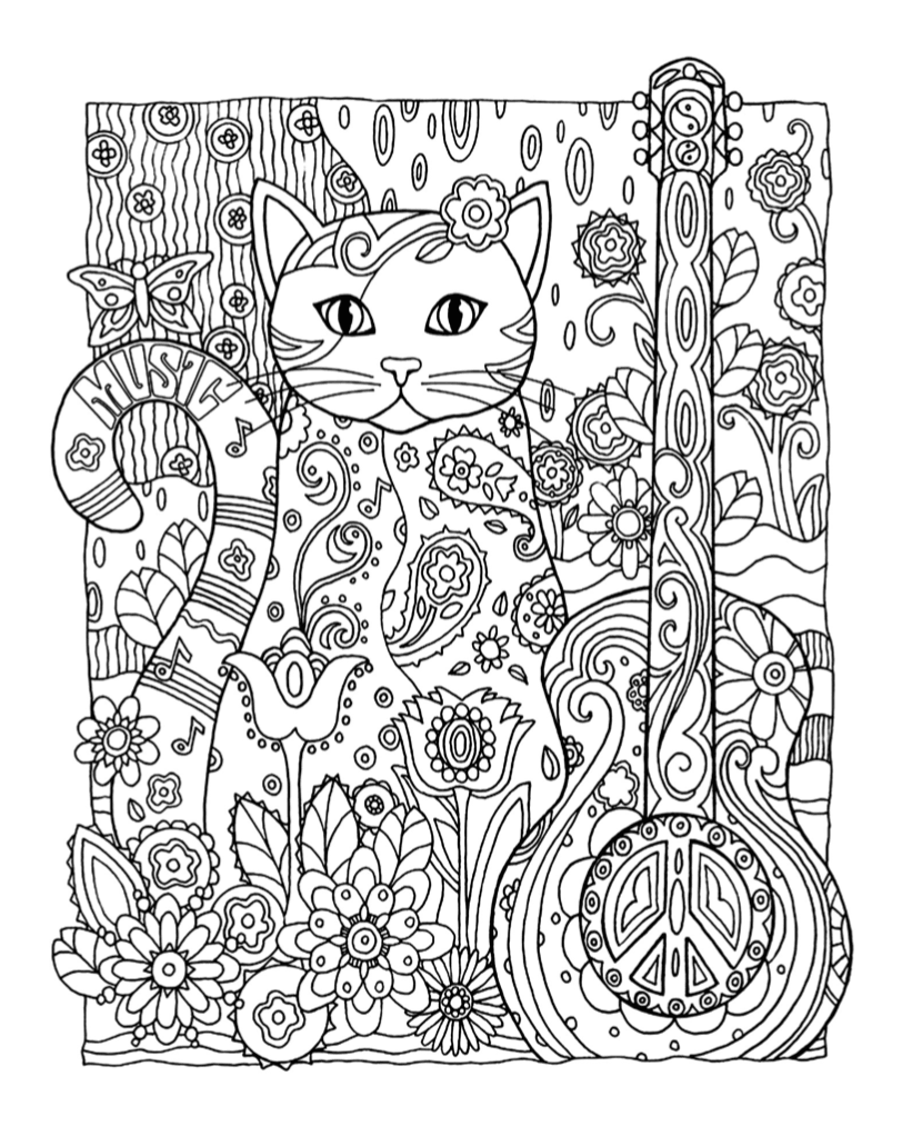 Musical Cat Coloring Page | Free Download