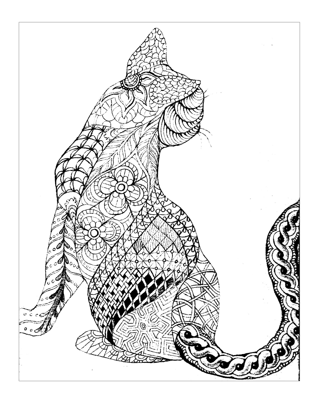 Geometric Cat Coloring Page | Free Download