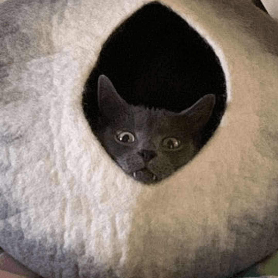 Grey & White Cat Cave | Pet Bed