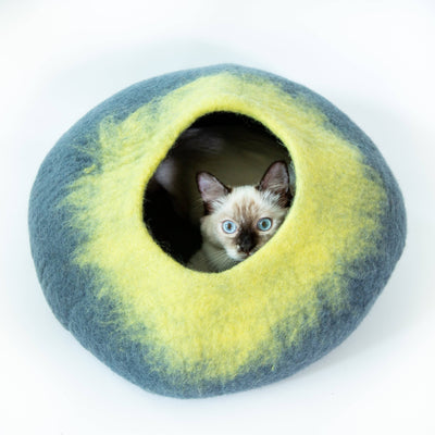 Yellow & Grey Cat Cave | Pet Bed