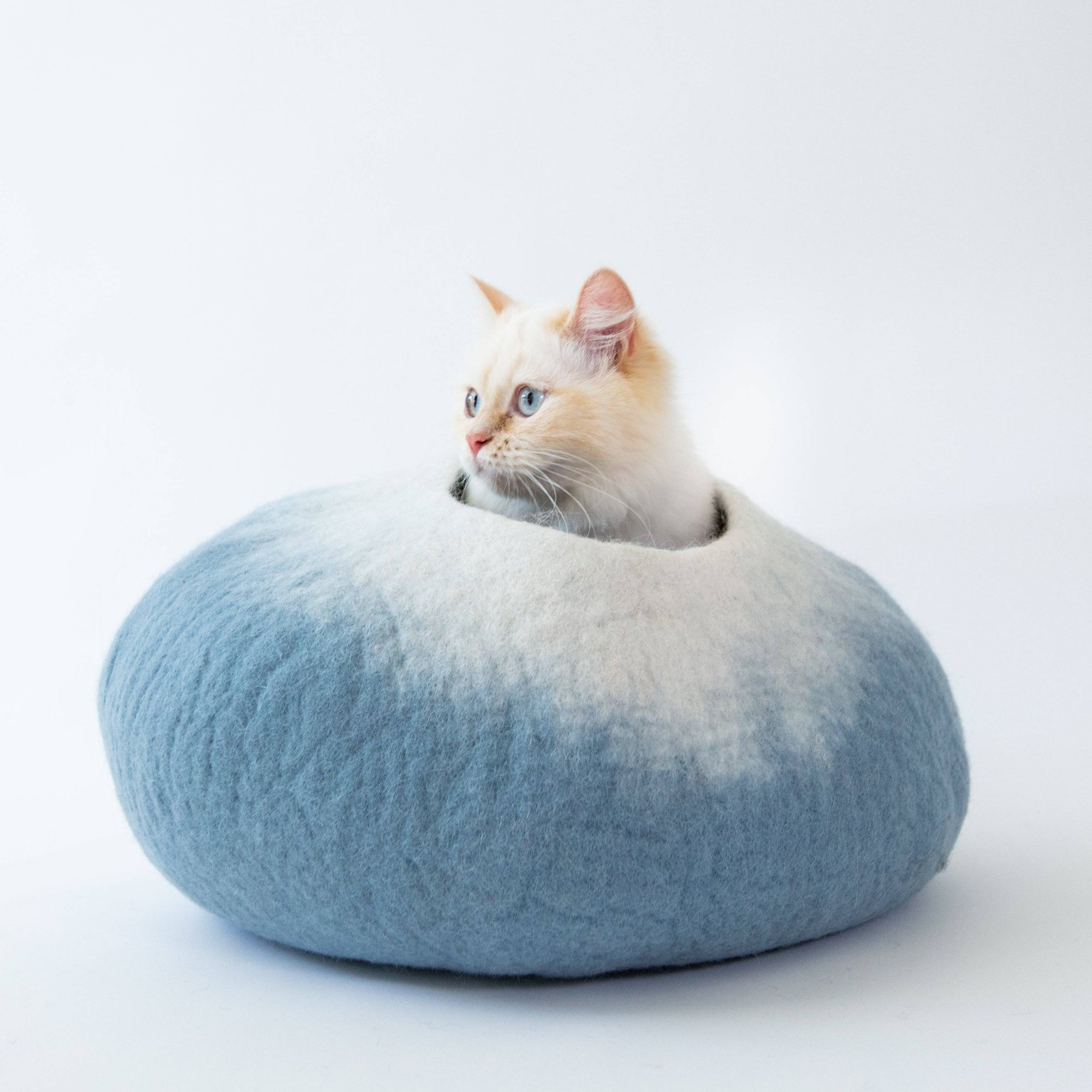 Sky Blue & White Cat Cave | Pet Bed