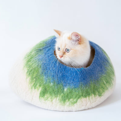 White, Lime & Blue Cat Cave | Pet Bed