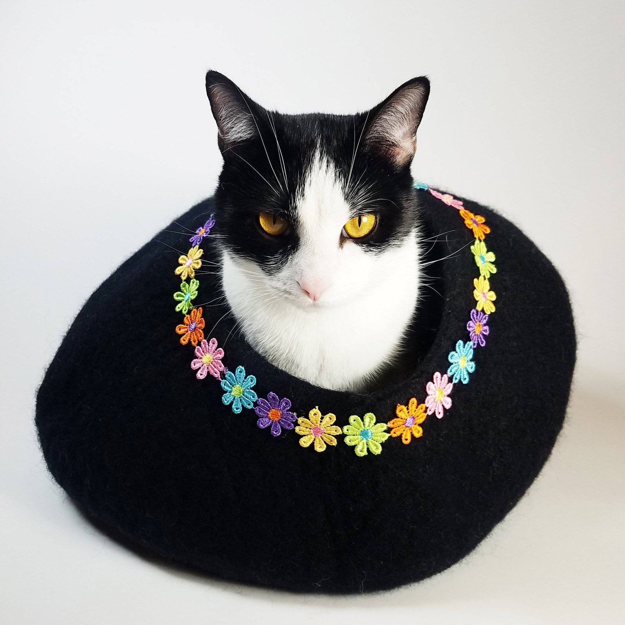 Daisy Rainbow Black Cat Cave | Pet Bed