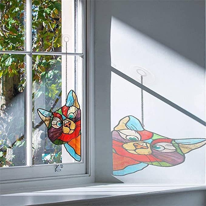 Cat Stained Glass Window Sticker