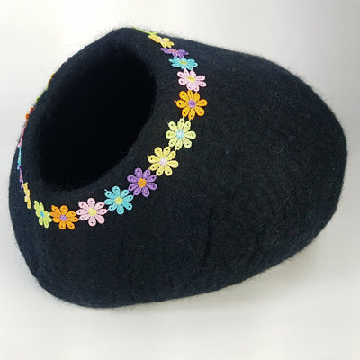 PRE-SALE | Daisy Rainbow Black Cat Cave | Pet Bed