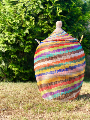 Tall Hand Woven Colorful Basket From Uganda