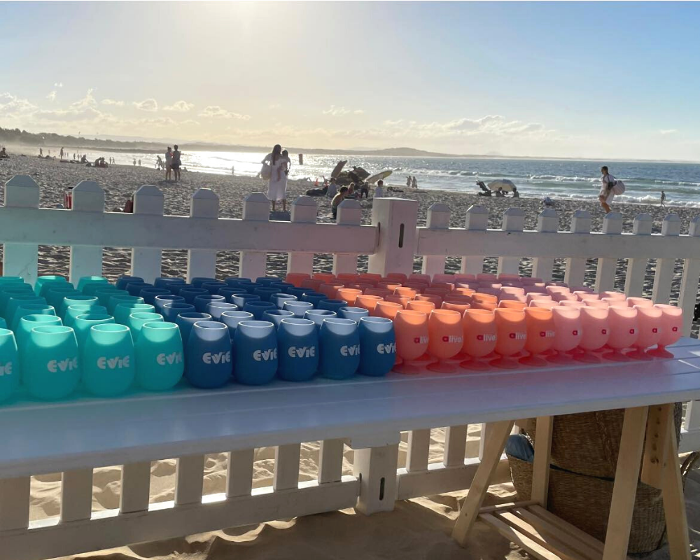 custom collab evie and noosa alive unbreakable silicone tumblers and wine glasses