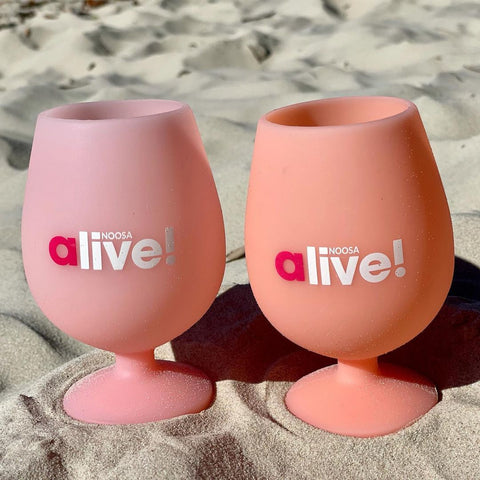 noosa alive cusotm collab silicone unbreakable wine glasses