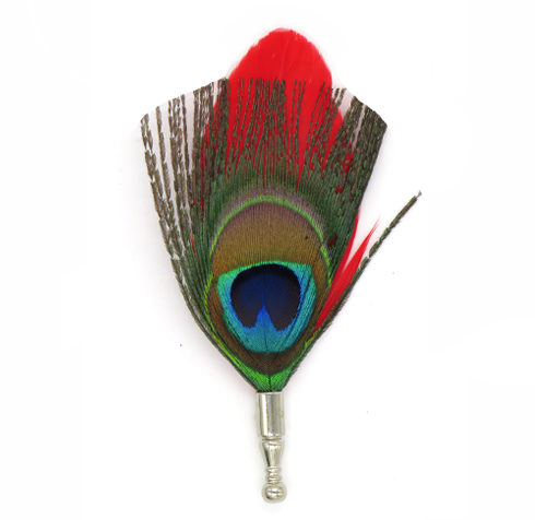 Peacock Red Feather Pin - lavishblanc