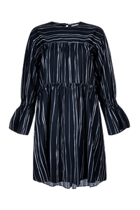 Painterly Stripe Tiered Smock Dress
