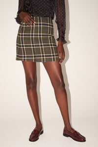 Khaki check mini skirt