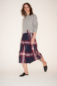Checked wrap skirt
