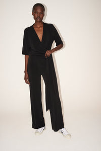 Wide-leg draped jumpsuit