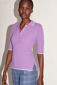 Soft Rib-Knit Polo Top